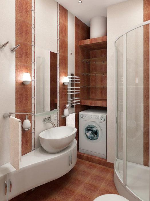 Небольшая душевая кабина отлично подойдёт для маленькой ванной комнаты.