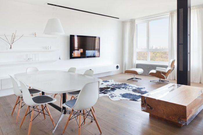 Столовая-гостиная в стиле минимализм.