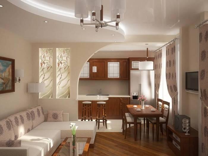 Кухня, объединённая с гостиной – идеальный вариант для расширения пространства.