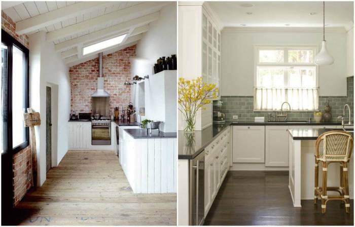 Доска и линолеум с имитацией под дерево - идеальный вариант для кухни.