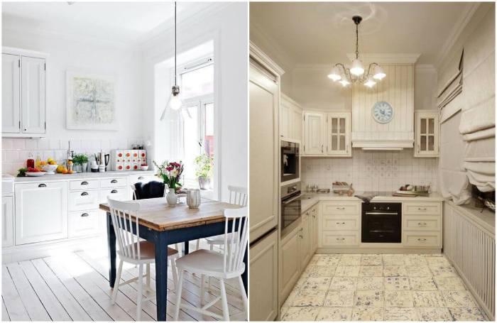 Светлый пол на кухне визуально расширит пространство.