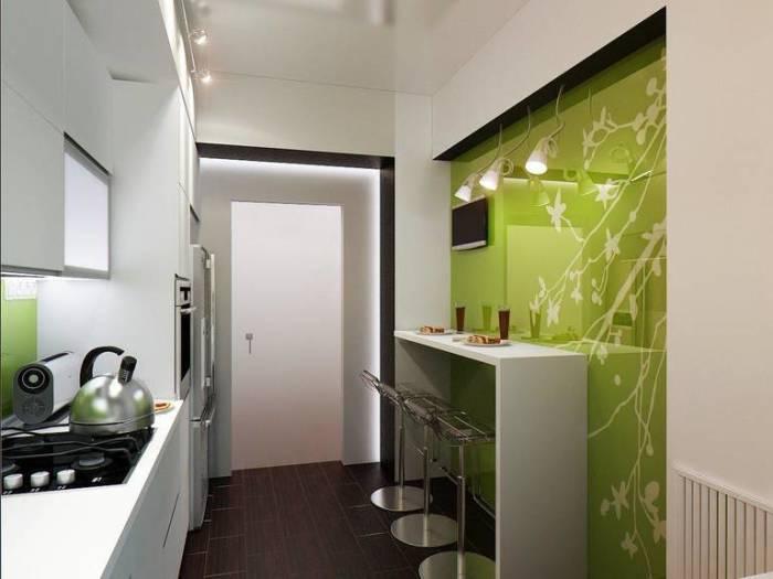 Барная стойка - ещё один прекрасный вариант для маленькой кухни.