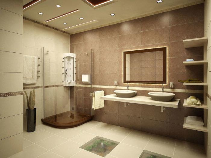 Ванная комната. выполненная в бежевых тонах и оттенках.