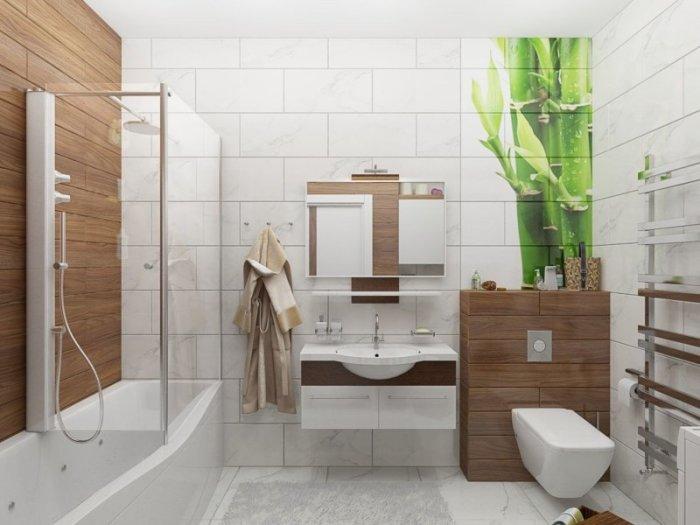 Классический белый цвет - идеальный вариант для отделки стен ванной.