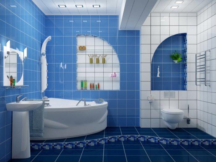 Ванная, выполненная в бело-голубом стиле.