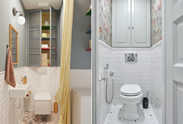 Полочки и шкафчики в туалете. / Фото: pinterest.com.
