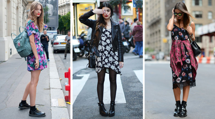 Цветочные платья с массивной обувью. \ Фото: google.com.ua.