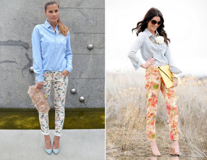 Цветочные брюки с однотонной рубашкой. \ Фото: google.com.ua.