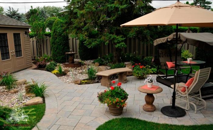 Площадка для отдыха во дворе. \ Фото: yandex.com.