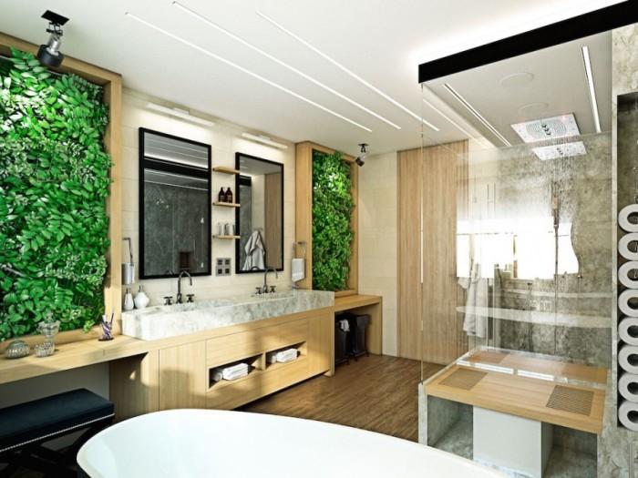 Такая живая стена будет уместно смотреться и в ванной комнате, освежая её.
