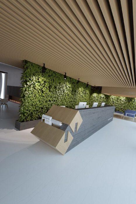 Подобный декор станет прекрасным украшением рабочей зоны в офисе.