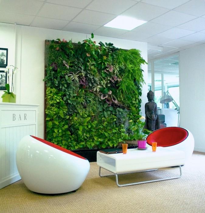 «Живая» стена из растений.