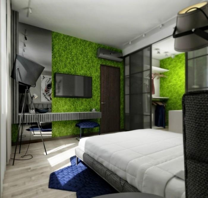 Такая зелёная стена в спальне подарит ощущение умиротворении, единения и гармонии.