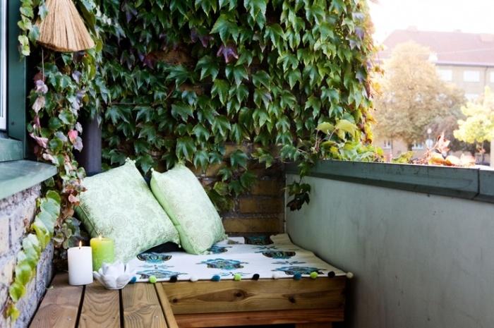 Сделать из балкона комфортабельную зону отдыха легко и просто – стоит только добавить  растения на стену.