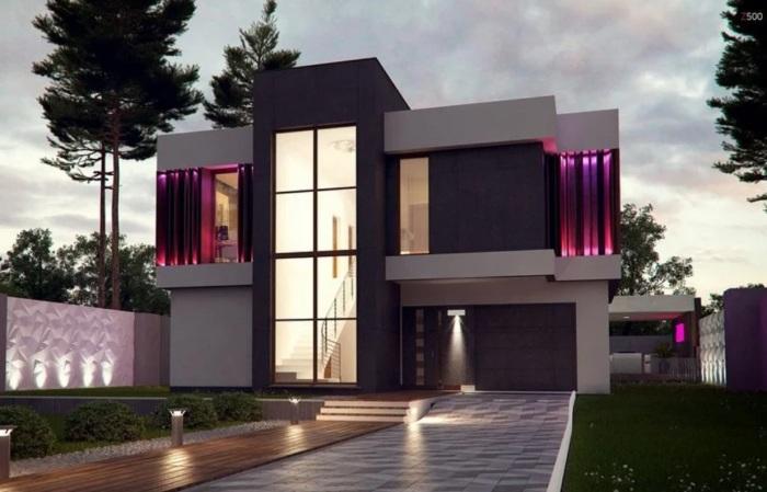 Широкое использование серебристо-металлического цвета придаёт зданиям особый шарм.