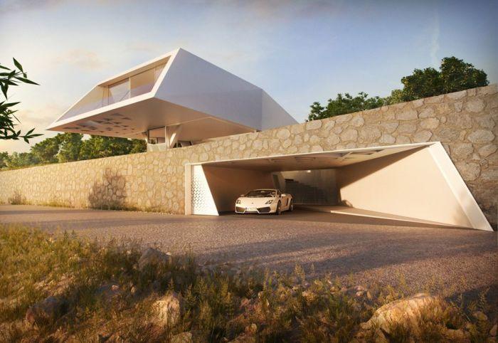 Замечательный дом необычной формы в стиле хай-тек.