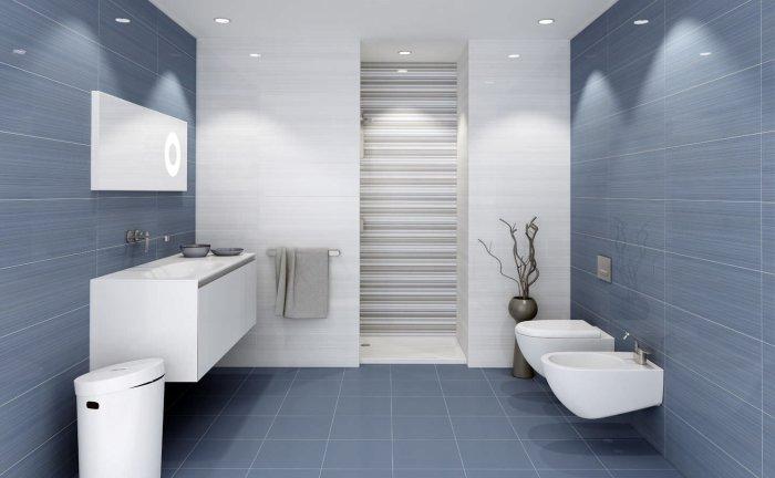 Для отделки ванной комнаты используйте глянцевую или же матовую керамическую плитку белого цвета.