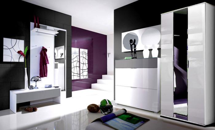 Мебель должна помочь организовать пространство. Поэтому в хай-тек полки и вешалки используются чаще всего.