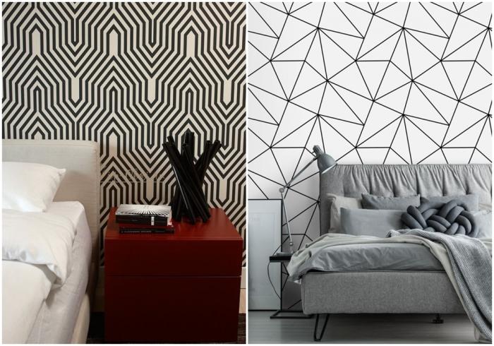 Монохромные обои с геометрическим рисунком. \ Фото: designwiki.ru.