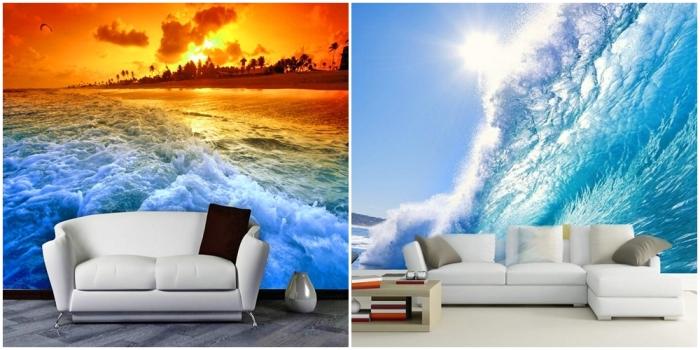 Реалистичные фотообои с волнами. \ Фото: fon-bish.com.