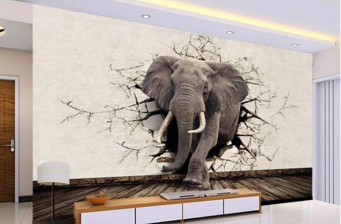 Объёмные обои со слоном. \ Фото: pinterest.com.