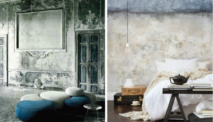 Обои в стиле гранж. \ Фото: one-remont.ru.