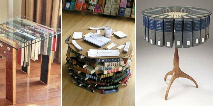 Оригинальные идеи столиков из книг. \ Фото: legko.com.