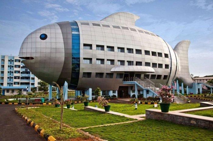 Здание Национального управления развития рыбных промыслов в Хайдарабаде, Индия.