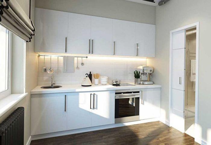 Кухня, выполненная в светлых тонах.