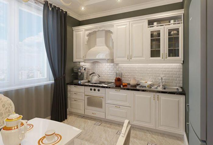 Маленькая кухня в классическом стиле.