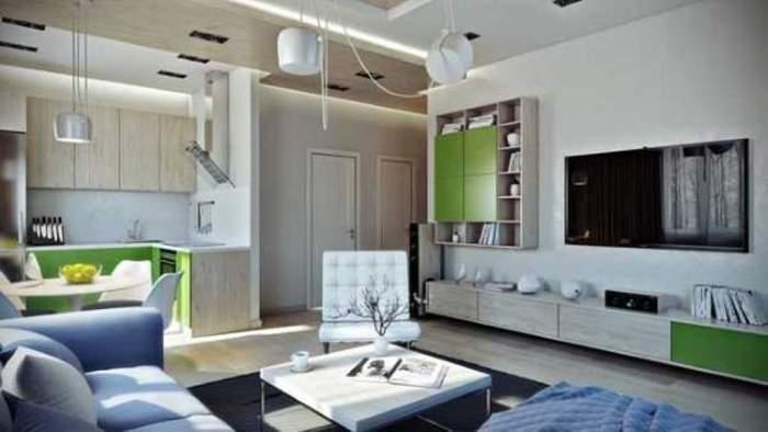 Современный дизайн маленькой квартиры студии 30 кв. м.