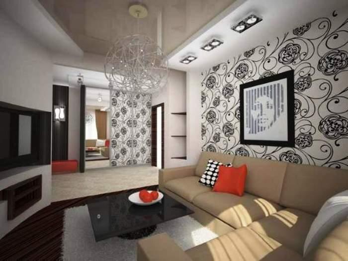 Современный дизайн зала в маленькой квартире хрущёвке.