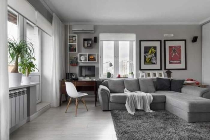 Дизайн маленькой комнаты в квартире в хрущёвке в скандинавском стиле.