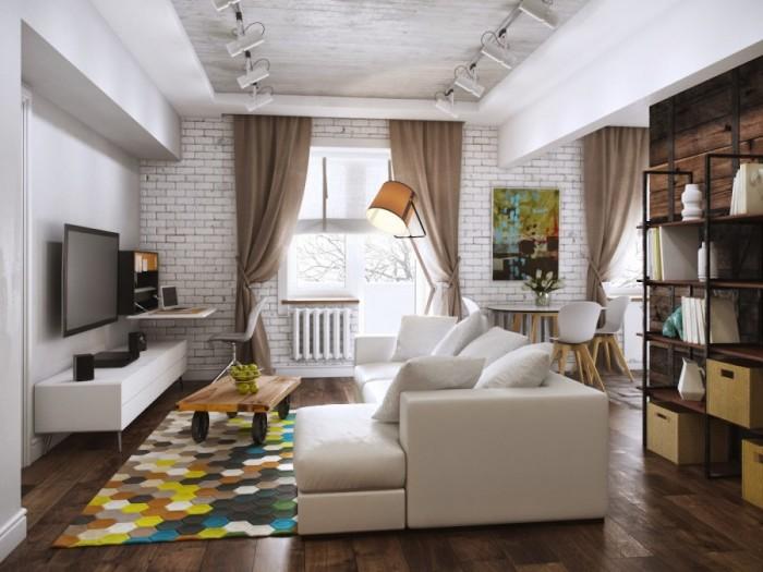 Чтобы визуально увеличить эту комнату, цвет потолка должен быть светлее оттенка стен или же в тон им.