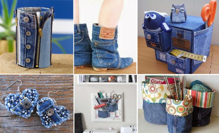 Оригинальные штучки из старых джинсов. \ Фото: google.ru.