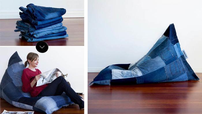 Кресло-мешок из старых джинсов. \ Фото: toypuf.ru.