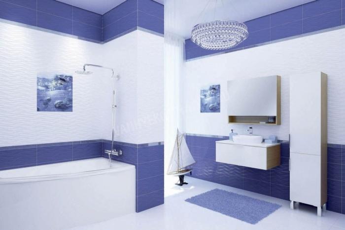 Яркая керамическая плитка в ванной комнате в стиле этно в тёплых тонах.