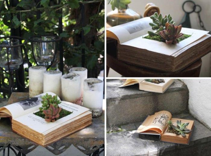 В качестве горшков для суккулентов и кактусов можно использовать старые книги или декоративные горшки, стилизованные под них.