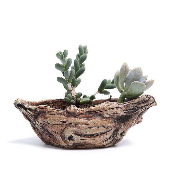 Горшок с имитацией коряги идеально подойдёт для непривередливых растений.