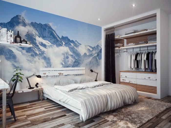 Фотообои в спальню могут создавать интересный дизайн, дополняющий интерьер.