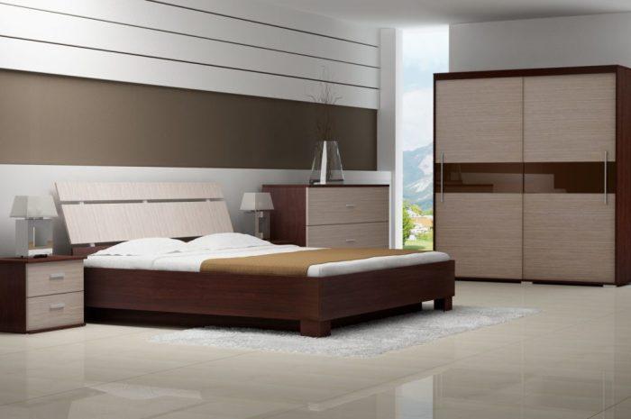 Современная компактная мебель для спальной комнаты.