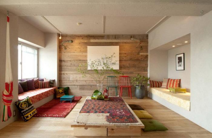 Ламинат с имитацией под шершавую деревянную поверхность придаёт интерьеру некий шик и роскошь.