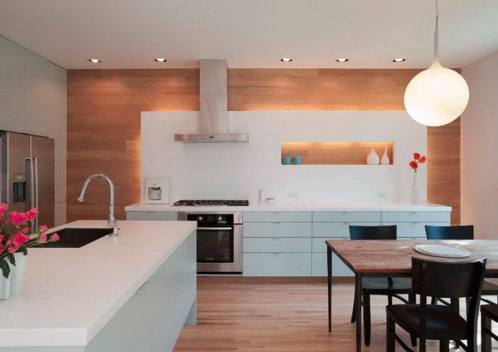 Кухня, выполненная в тёплых тонах и оттенках.