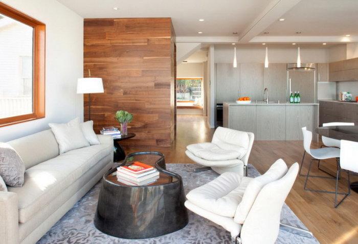 Когда пол и стена выполнены в едином стиле и и цвете.