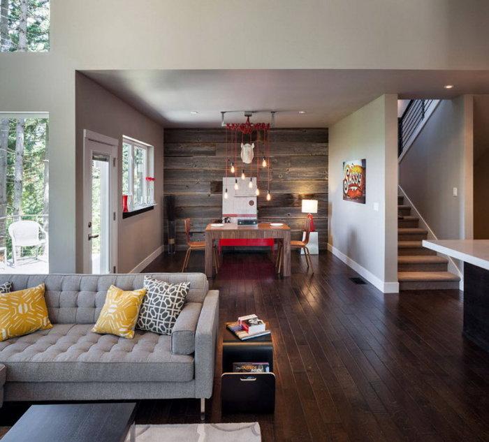 Благородные шоколадные оттенки идеально смотрятся со светлой мебелью.