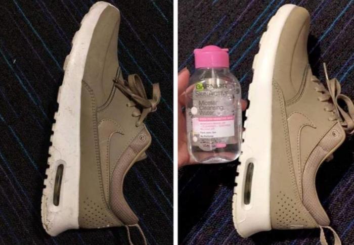 С мицеллярной водой ваша обувь станет как новая. \ Фото: fb.ru.
