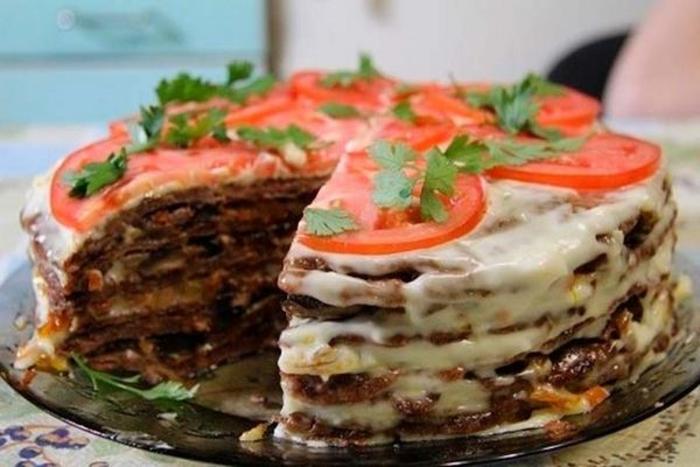 Нежный печёночный торт. \ Фото: google.com.