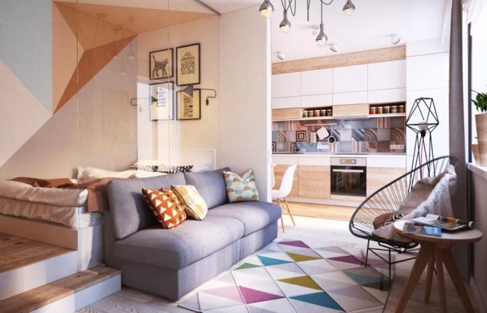 Дизайн маленькой квартиры площадью шестьдесят квадратных метров.
