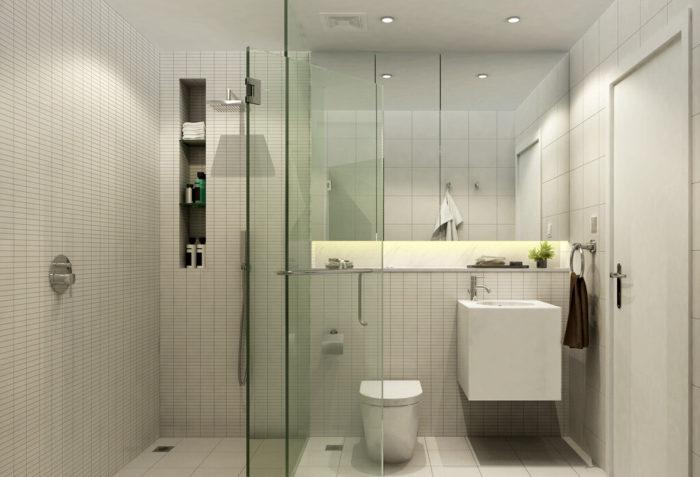Не бойтесь отказаться от ванной или душевой кабины в пользу открытого душа. Это поможет не только сэкономить пространство, а и придаст ванной комнате эстетический вид.