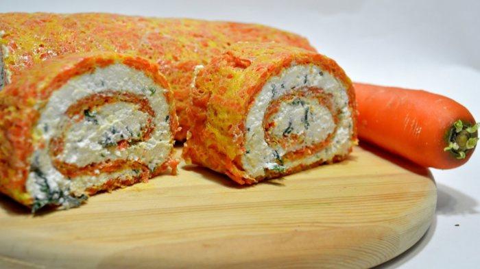 Морковный рулет. \ Фото: youtube.com.